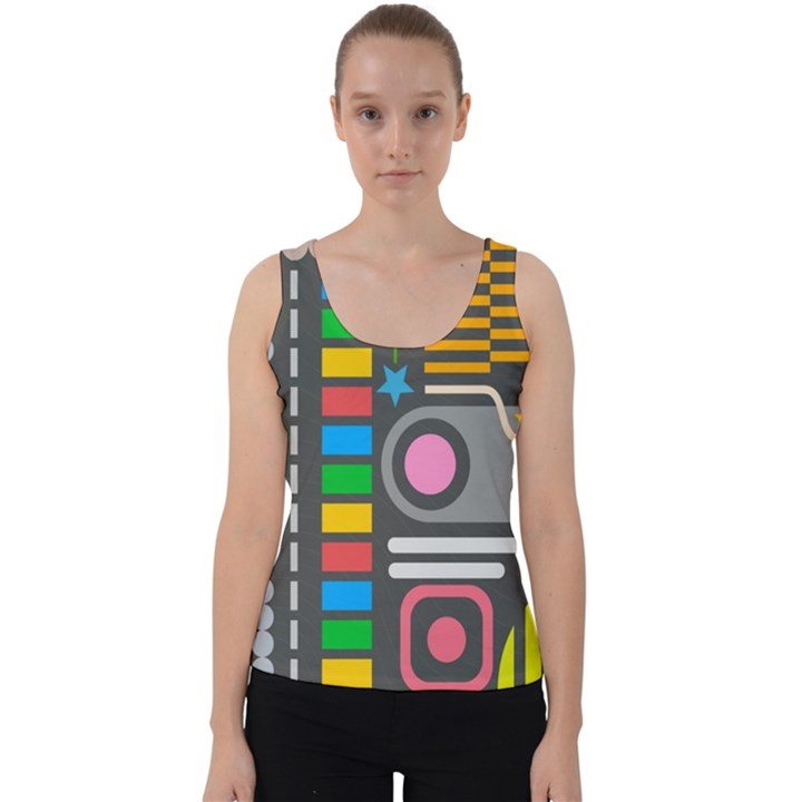 Pattern Geometric Abstract Colorful Arrows Lines Circles Triangles Velvet Tank Top