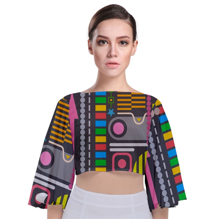 Pattern Geometric Abstract Colorful Arrows Lines Circles Triangles Tie Back Butterfly Sleeve Chiffon Top
