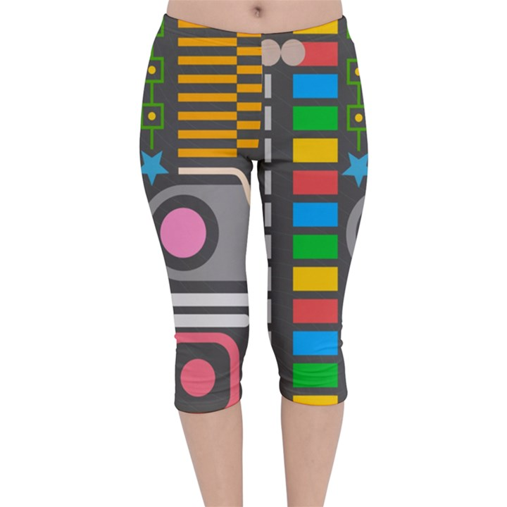 Pattern Geometric Abstract Colorful Arrows Lines Circles Triangles Velvet Capri Leggings
