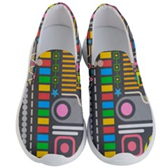 Pattern Geometric Abstract Colorful Arrows Lines Circles Triangles Men s Lightweight Slip Ons by Vaneshart