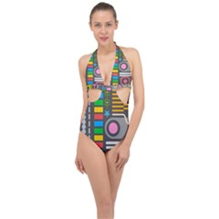 Pattern Geometric Abstract Colorful Arrows Lines Circles Triangles Halter Front Plunge Swimsuit