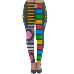 Pattern Geometric Abstract Colorful Arrows Lines Circles Triangles Lightweight Velour Leggings