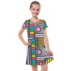 Pattern Geometric Abstract Colorful Arrows Lines Circles Triangles Kids  Cross Web Dress