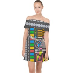 Pattern Geometric Abstract Colorful Arrows Lines Circles Triangles Off Shoulder Chiffon Dress