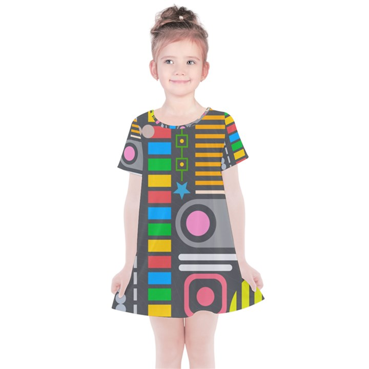 Pattern Geometric Abstract Colorful Arrows Lines Circles Triangles Kids  Simple Cotton Dress