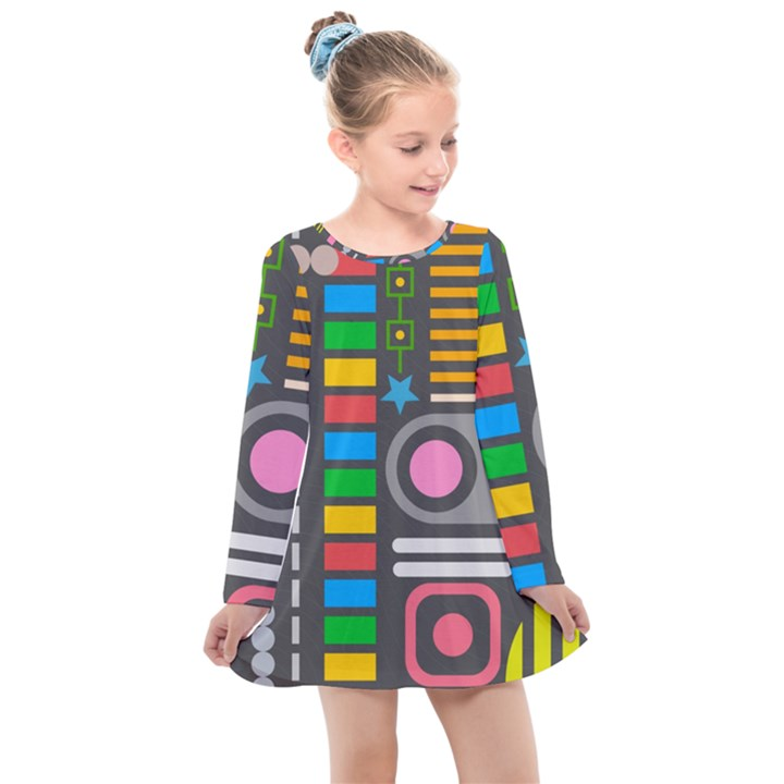 Pattern Geometric Abstract Colorful Arrows Lines Circles Triangles Kids  Long Sleeve Dress