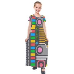 Pattern Geometric Abstract Colorful Arrows Lines Circles Triangles Kids  Short Sleeve Maxi Dress