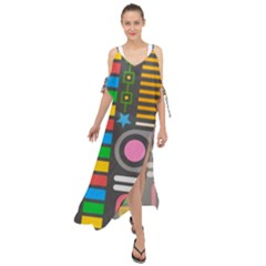 Pattern Geometric Abstract Colorful Arrows Lines Circles Triangles Maxi Chiffon Cover Up Dress