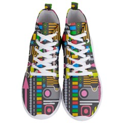 Pattern Geometric Abstract Colorful Arrows Lines Circles Triangles Men s Lightweight High Top Sneakers by Vaneshart