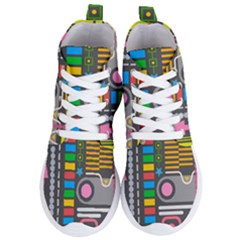 Pattern Geometric Abstract Colorful Arrows Lines Circles Triangles Women s Lightweight High Top Sneakers by Vaneshart