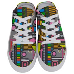 Pattern Geometric Abstract Colorful Arrows Lines Circles Triangles Half Slippers by Vaneshart