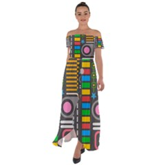 Pattern Geometric Abstract Colorful Arrows Lines Circles Triangles Off Shoulder Open Front Chiffon Dress