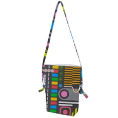 Pattern Geometric Abstract Colorful Arrows Lines Circles Triangles Folding Shoulder Bag