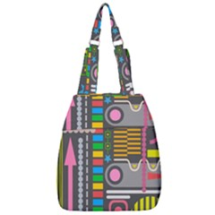 Pattern Geometric Abstract Colorful Arrows Lines Circles Triangles Center Zip Backpack