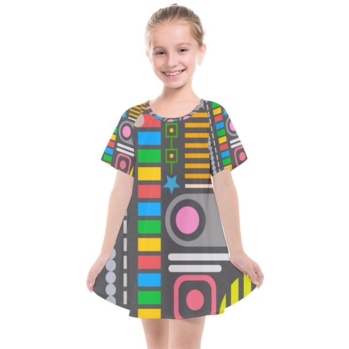 Pattern Geometric Abstract Colorful Arrows Lines Circles Triangles Kids  Smock Dress