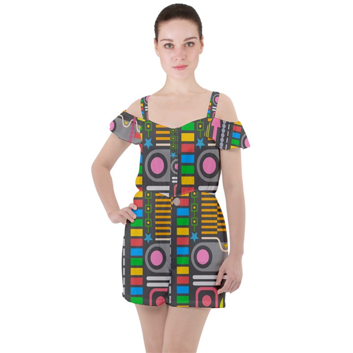 Pattern Geometric Abstract Colorful Arrows Lines Circles Triangles Ruffle Cut Out Chiffon Playsuit