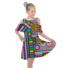 Pattern Geometric Abstract Colorful Arrows Lines Circles Triangles Kids  Shoulder Cutout Chiffon Dress