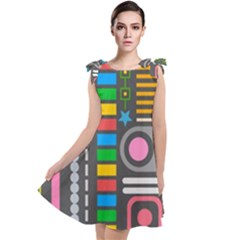 Pattern Geometric Abstract Colorful Arrows Lines Circles Triangles Tie Up Tunic Dress