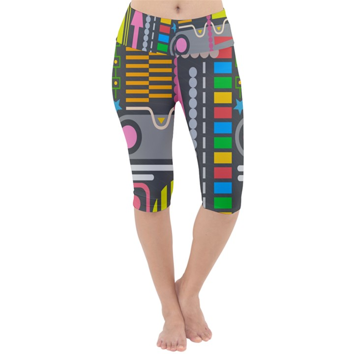 Pattern Geometric Abstract Colorful Arrows Lines Circles Triangles Lightweight Velour Cropped Yoga Leggings