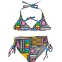 Pattern Geometric Abstract Colorful Arrows Lines Circles Triangles Kids  Classic Bikini Set View1