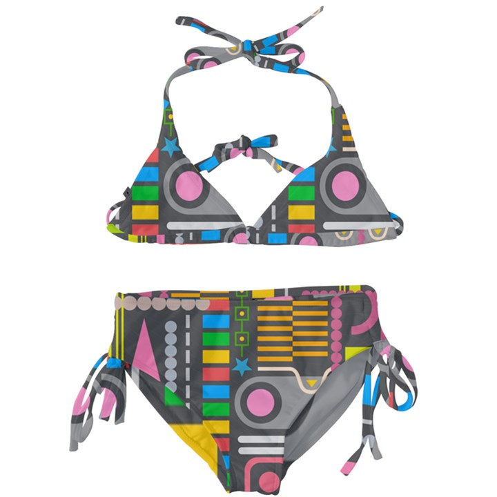 Pattern Geometric Abstract Colorful Arrows Lines Circles Triangles Kids  Classic Bikini Set