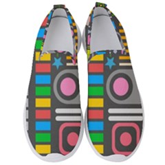 Pattern Geometric Abstract Colorful Arrows Lines Circles Triangles Men s Slip On Sneakers by Vaneshart