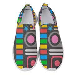 Pattern Geometric Abstract Colorful Arrows Lines Circles Triangles Women s Slip On Sneakers by Vaneshart