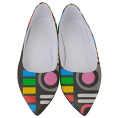 Pattern Geometric Abstract Colorful Arrows Lines Circles Triangles Women s Low Heels by Vaneshart
