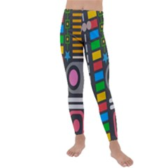 Pattern Geometric Abstract Colorful Arrows Lines Circles Triangles Kids  Lightweight Velour Leggings