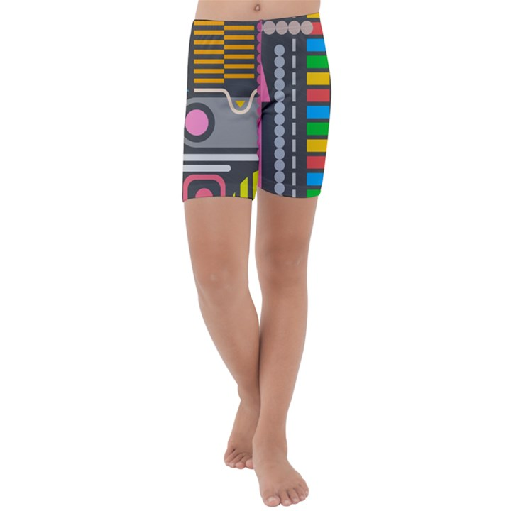 Pattern Geometric Abstract Colorful Arrows Lines Circles Triangles Kids  Lightweight Velour Capri Yoga Leggings