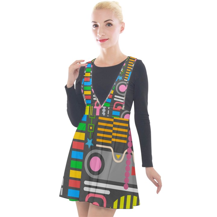 Pattern Geometric Abstract Colorful Arrows Lines Circles Triangles Plunge Pinafore Velour Dress
