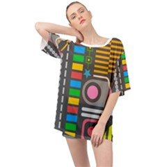Pattern Geometric Abstract Colorful Arrows Lines Circles Triangles Oversized Chiffon Top