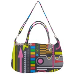 Pattern Geometric Abstract Colorful Arrows Lines Circles Triangles Removal Strap Handbag