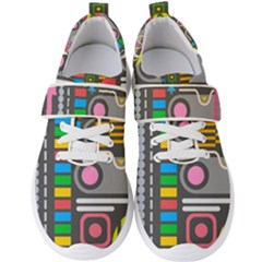 Pattern Geometric Abstract Colorful Arrows Lines Circles Triangles Men s Velcro Strap Shoes by Vaneshart