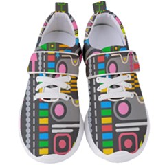 Pattern Geometric Abstract Colorful Arrows Lines Circles Triangles Women s Velcro Strap Shoes by Vaneshart