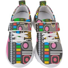 Pattern Geometric Abstract Colorful Arrows Lines Circles Triangles Kids  Velcro Strap Shoes by Vaneshart