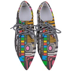 Pattern Geometric Abstract Colorful Arrows Lines Circles Triangles Women s Pointed Oxford Shoes by Vaneshart