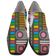Pattern Geometric Abstract Colorful Arrows Lines Circles Triangles Women Slip On Heel Loafers by Vaneshart