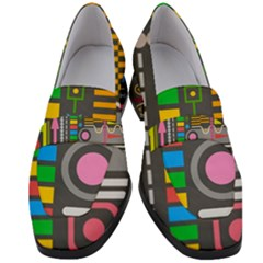 Pattern Geometric Abstract Colorful Arrows Lines Circles Triangles Women s Chunky Heel Loafers by Vaneshart
