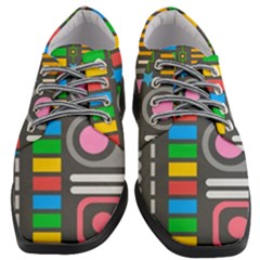 Pattern Geometric Abstract Colorful Arrows Lines Circles Triangles Women Heeled Oxford Shoes by Vaneshart