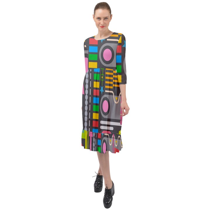 Pattern Geometric Abstract Colorful Arrows Lines Circles Triangles Ruffle End Midi Chiffon Dress
