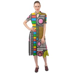 Pattern Geometric Abstract Colorful Arrows Lines Circles Triangles Keyhole Neckline Chiffon Dress