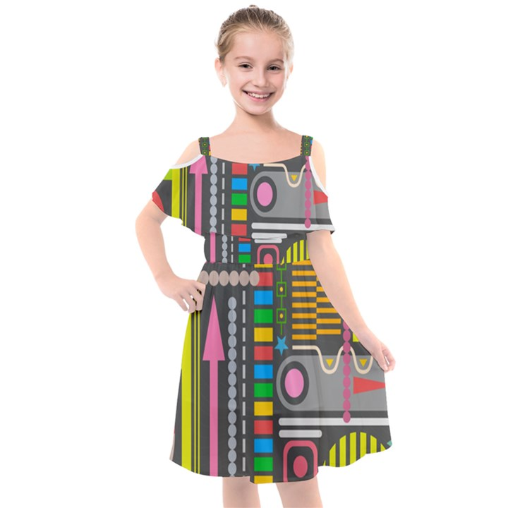 Pattern Geometric Abstract Colorful Arrows Lines Circles Triangles Kids  Cut Out Shoulders Chiffon Dress