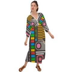 Pattern Geometric Abstract Colorful Arrows Lines Circles Triangles Grecian Style  Maxi Dress