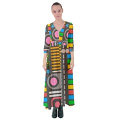 Pattern Geometric Abstract Colorful Arrows Lines Circles Triangles Button Up Maxi Dress
