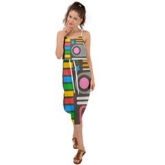 Pattern Geometric Abstract Colorful Arrows Lines Circles Triangles Waist Tie Cover Up Chiffon Dress