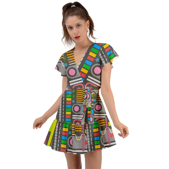 Pattern Geometric Abstract Colorful Arrows Lines Circles Triangles Flutter Sleeve Wrap Dress