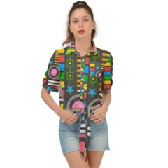 Pattern Geometric Abstract Colorful Arrows Lines Circles Triangles Tie Front Shirt