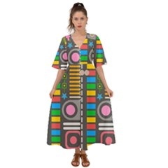 Pattern Geometric Abstract Colorful Arrows Lines Circles Triangles Kimono Sleeve Boho Dress