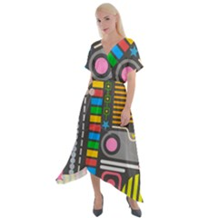 Pattern Geometric Abstract Colorful Arrows Lines Circles Triangles Cross Front Sharkbite Hem Maxi Dress